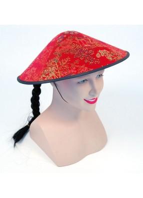 Шляпа круглая красная с косичкой
