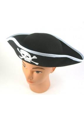 Шляпа пирата фетровая с белой каймой