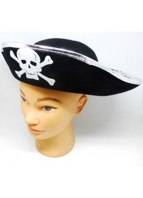 Шляпа пирата  фетровая с серебряной каймой