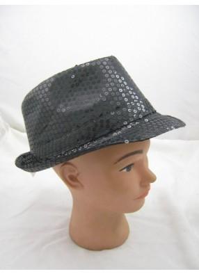 Шляпа с блестками черная