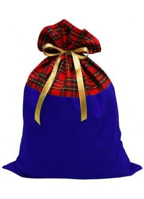 Шотландский мешок для подарков красно-синий