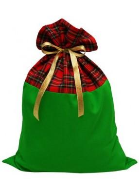 Шотландский мешок для подарков красно-зеленый