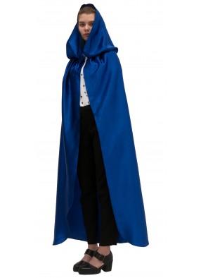 Синий атласный плащ с капюшоном фото