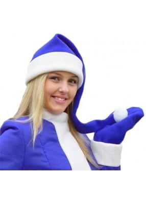 Синий флисовый колпак Деда Мороза длинный