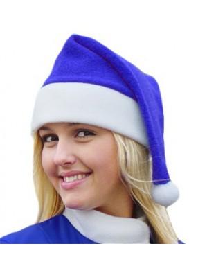 Синий флисовый колпак Деда Мороза