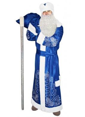 Синий костюм Морозный рисунок для Деда Мороза с бородой и посохом