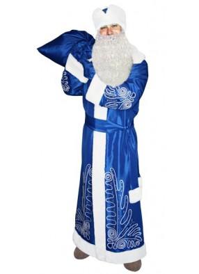Синий костюм Морозный рисунок для Деда Мороза с бородой