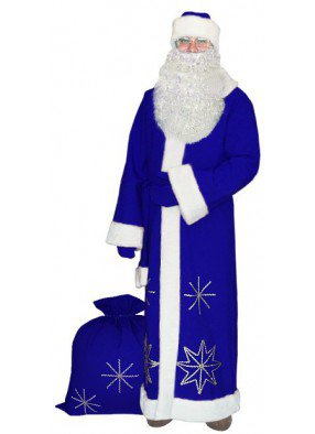 Синий костюм Серебристые снежинки для Деда Мороза с бородой