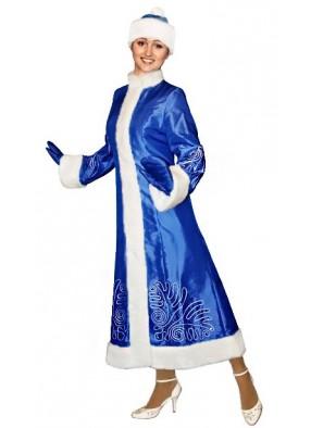 Синий костюм Снегурочки Серебряный Морозный рисунок