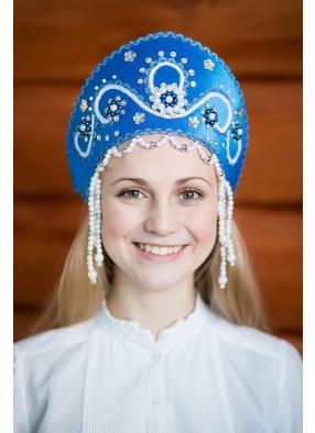 Синий национальный кокошник