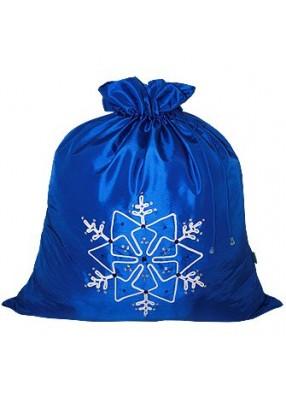 Синий новогодний подарочный мешок Снежинка