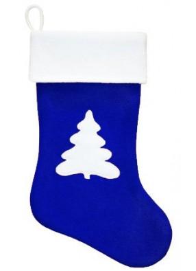 Синий рождественский носок с Елкой