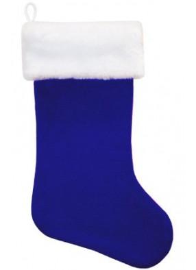 Синий рождественский носок с искусственным мехом