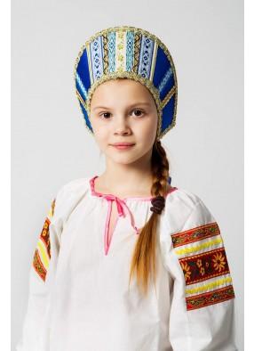 Синий русский народный кокошник