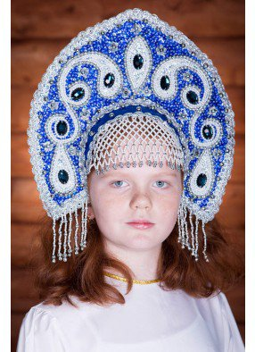 Синяя корона кокошник