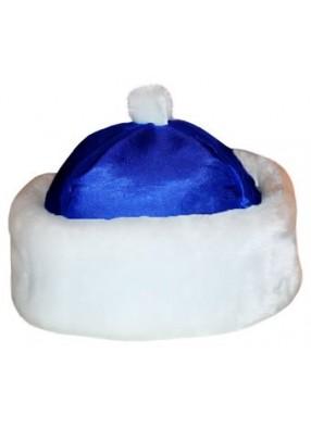 Синяя шапка Деда Мороза на парик с меховой опушкой