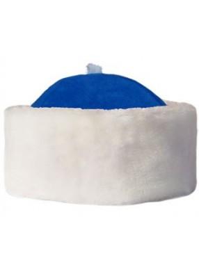 Синяя шапка Деда Мороза с мехом