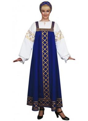 Современный русский народный костюм синий