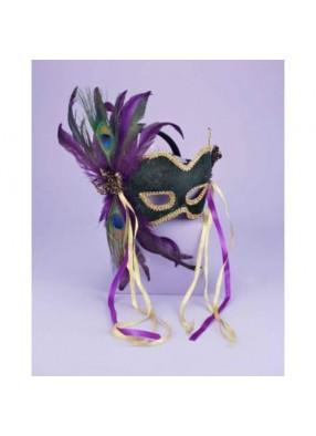 Темно-зеленая карнавальная маска