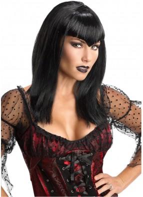 Темный парик вампирши с блестящими нитями