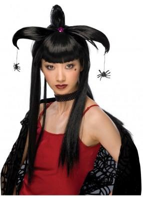 Темный парик ведьмы с пауками