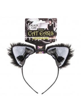 Уши черной кошки на ободке