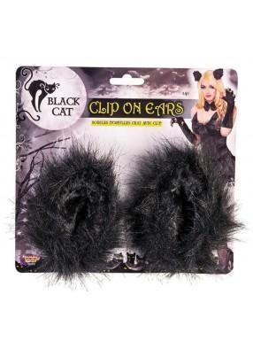 Ушки Черной кошки на клипсах