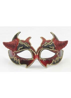 Венецианская красно-черная маска с рожками фото
