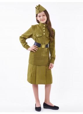 Военный костюм для девочки из саржи