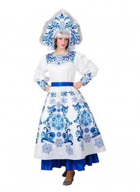 Взрослый костюм Снегурочки Гжель с кокошником