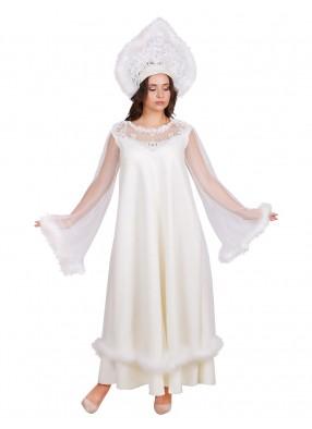 Взрослый костюм Снегурочки Жемчужной с кокошником