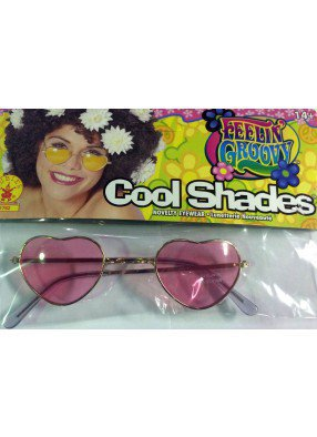 Хипповые очки розовые сердечки фото