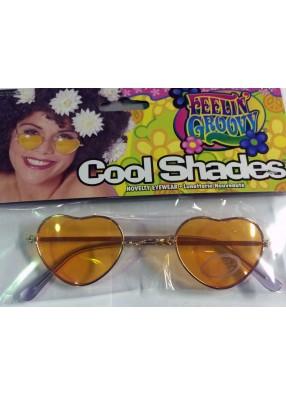 Хипповые очки-сердечки оранжевые фото
