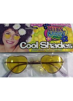 Хипповые очки желтые сердечки фото