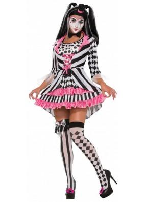Яркий костюм клоунессы Арлекин