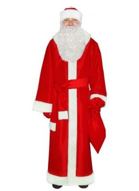 Ярко-красный новогодний костюм Дедушки Мороза с бородой