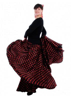 Юбка Фламенко черная в красный горох