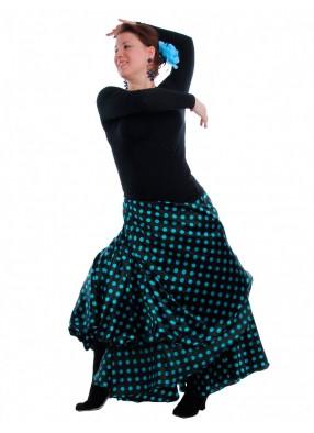 Юбка Фламенко черная в синий горох