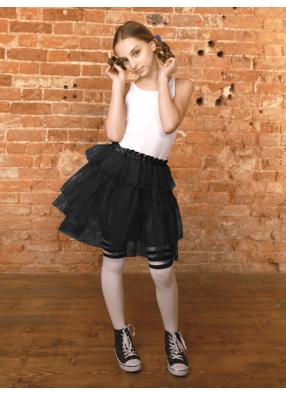 Юбка-пачка из сатина Каскад черная 1 фото