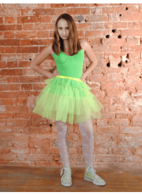 Юбка-пачка из сатина Каскад салатовая 1 фото