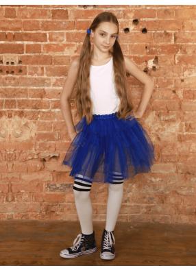Юбка-пачка из сатина Каскад синяя 1 фото