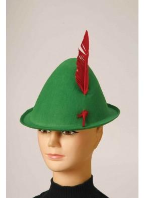 Зеленая альпийская шляпа с пером фото