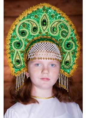 Зеленая корона кокошник