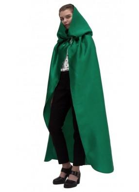 Зеленый атласный плащ с капюшоном фото