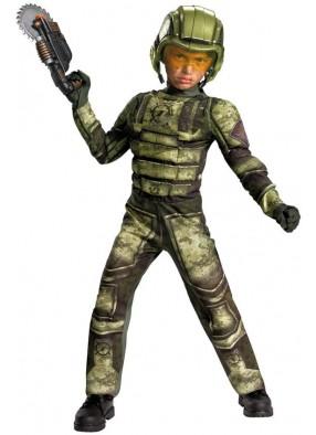 Зеленый костюм солдата SWAT с мускулами