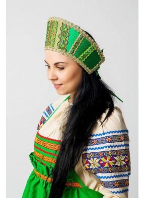 Зеленый русский народный кокошник