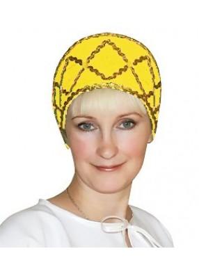 Желтый народный Кокошник с тесьмой