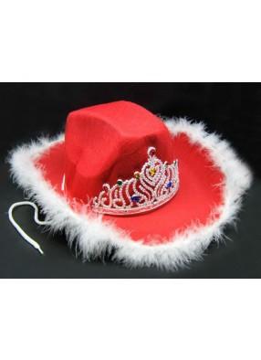 Женская шляпа ковбоя красная