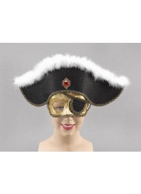 Золотая полумаска пирата со шляпой