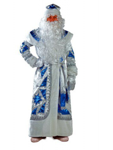 Костюм деда мороза серебряно-синий